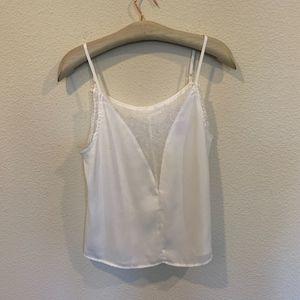 Tops - White satin silk lace trim v neck cami blouse